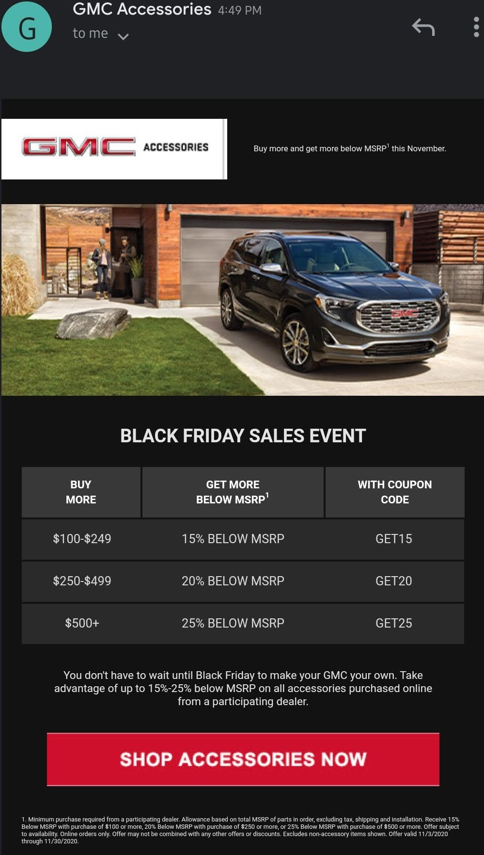 This email was sent out to GMC Owners Today, debuting GMC's 2020 Black Friday Promotion